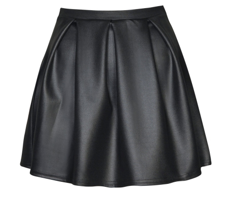 16$Wet Look Scuba Box Pleat Skater Skirtboohoo