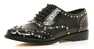 19$BLACK EMBELLISHED BROGUESriverisland