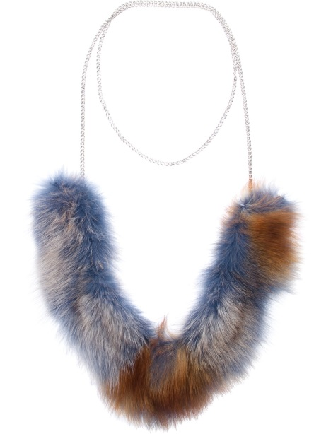 LAURA B faux fur necklace