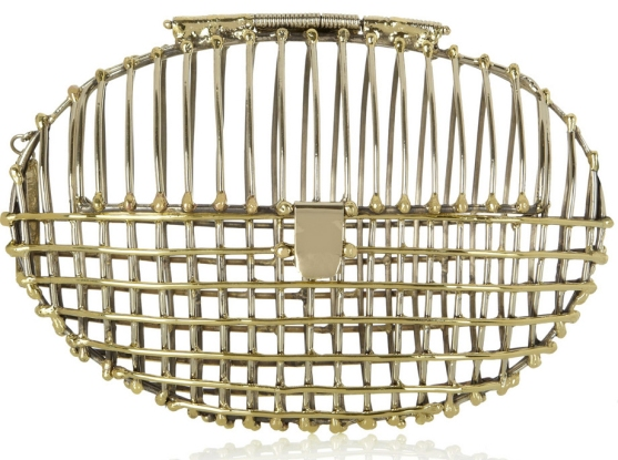 Gold and silver-tone oval cage clutch Anndra Neen