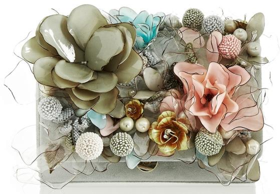 Marisol floral-embellished suede clutch Marchesa