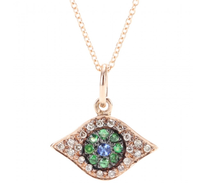 18kt rose gold eye necklace with brown diamonds Ileana Makri