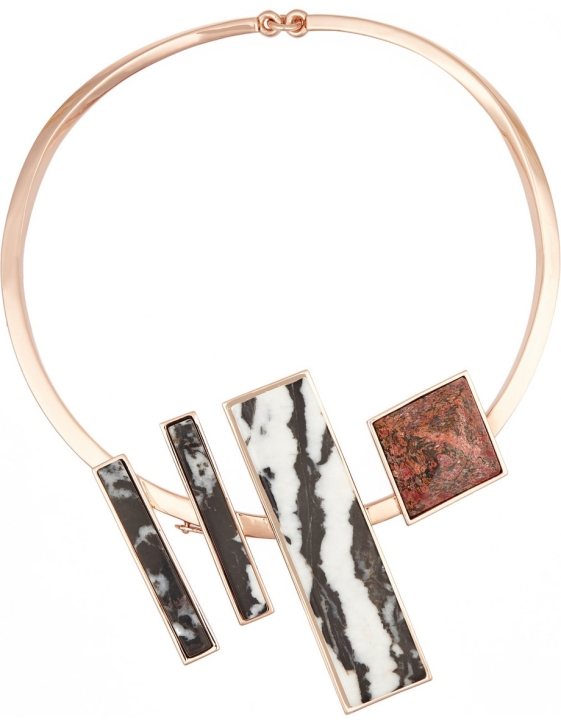 Composition Collar rose gold-plated jasper necklace by Eddie Borgo