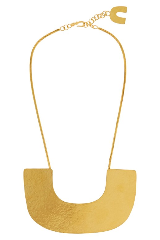 Hammered gold-plated necklace by Herve van der straeten