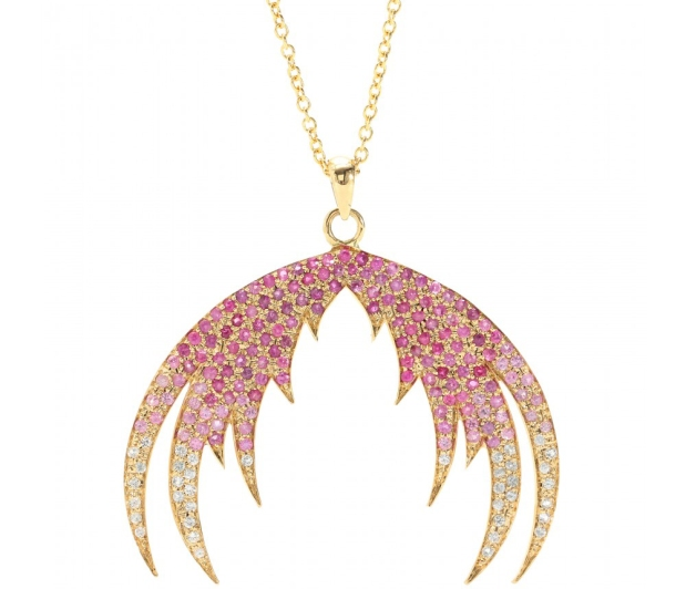 P00059815-PLUMAGE-OMBR---18KT-GOLD-PENDANT-NECKLACE-WITH-PINK-SAPPHIRES-by House of Waris
