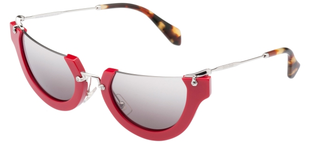 Miu Miu Wink semi-rimless cat-eyed red acetate browline frame